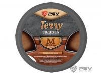 Оплетка на руль Terry натуральная кожа цвет серый р-р M