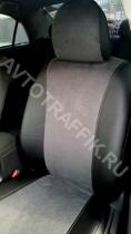Авточехлы на Nissan Micra Экокожа+алькантара (замша)