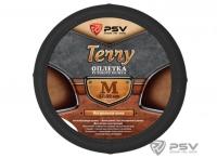 Оплетка на руль Terry натуральная кожа цвет черный р-р M
